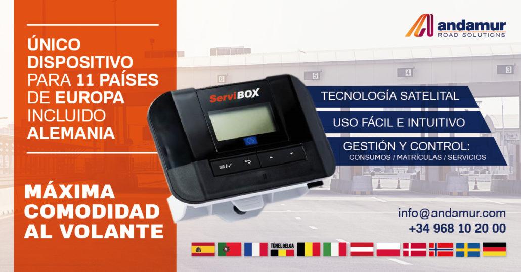 Andamur lanza ServiBOX, un único dispositivo de peajes apto 11 países de Europa